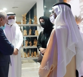 اللواء ماجد فرج يستقبل حاكم دبي في جناح فلسطين بإكسبو 2020